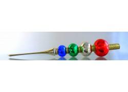 Vánoční špička, 4koule barevná lesk 345