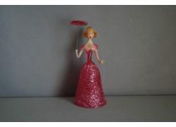 Skleněná rokoková dáma 13cm s deštníkem červená