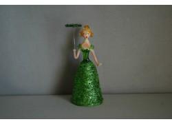 Figurine ladies with parasol in green dress www.sklenenevyrobky.cz
