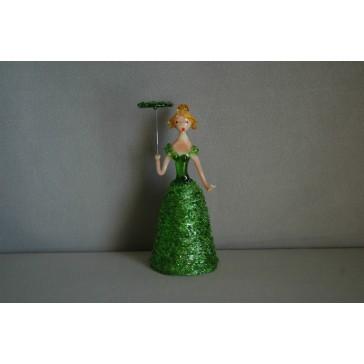Skleněná rokoková dáma 13cm s deštníkem zelená