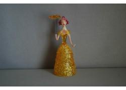 Skleněná rokoková dáma 13cm s deštníkem žlutá