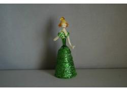 Figurine ladies with fan in green dress www.sklenenevyrobky.cz