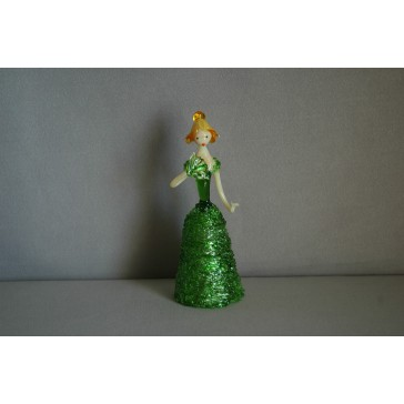 Skleněná rokoková dáma 13cm s vějířem zelená