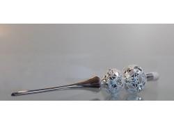 Vánoční špička 2 koule stříbrná vpichovaná lesk 543