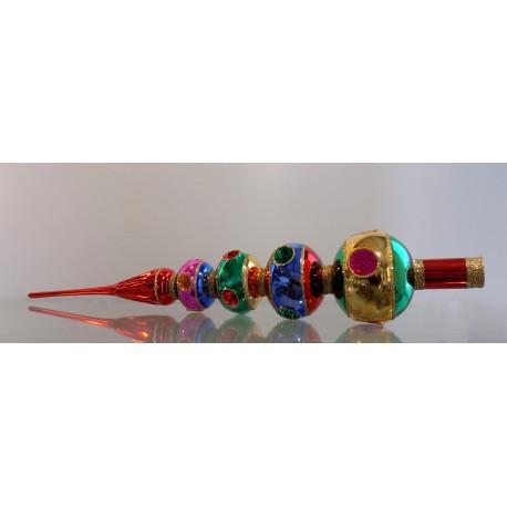 Christmas tree topper, 4 balls of colored glitter - needled, 45cm www.sklenenevyrobky.cz
