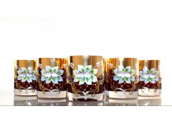 Whiskey glasses, 6 pcs, gilded and enamelled, ruby colors www.sklenenevyrobky.cz