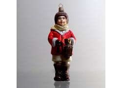 Christmas ornament figurine boy with lantern in red decor www.sklenenevyrobky.cz