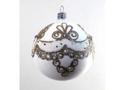 Vánoční koule 8cm, bílá s dekorem www.sklenenevyrobky.cz