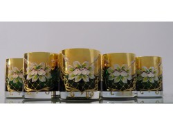 Glasses of whiskey, 6 pcs, gilded and enamelled, green colors www.sklenenevyrobky.cz