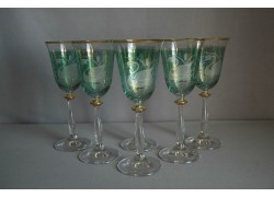 Sklenice na víno Angela 250ml set 6 ks dekor labuť zelený listr