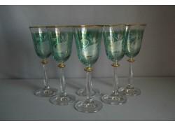 Wine glass, 6 pcs, decor swan, green, 250ml www.sklenenevyrobky.cz