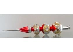 Vánoční ozdoba Špička na stromeček stříbrno červená 3 koule