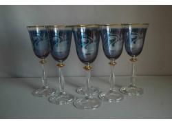 Sklenice na víno Angela 250ml set 6 ks ryté labuťě modrý listr