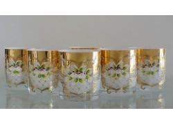 Glasses of whiskey, 6 pcs, gilded and enameled, white www.sklenenevyrobky.cz