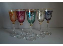 Wine glass, 6 pcs, decor swan, in 6 colors www.sklenenevyrobky.cz