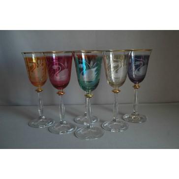 Poháre na víno, 6 ks, dekor Labuť, v 6 farbách www.sklenenevyrobky.cz
