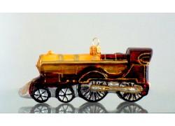 Christmas retro locomotive - glass ornament