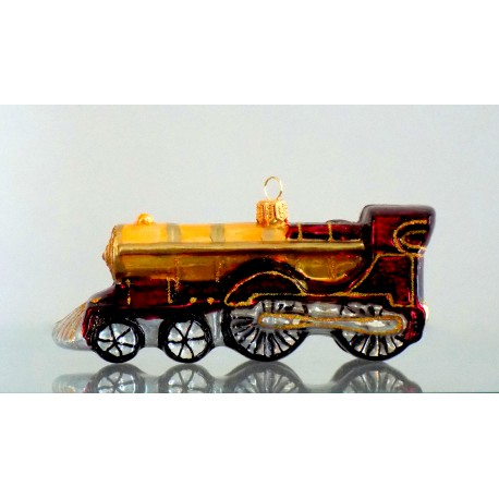 Christmas retro locomotive glass ornament www.sklenenevyrobky.cz