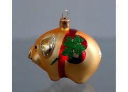 Weihnachtsschmuck Neujahrsschweingold www.sklenenevyrobky.cz