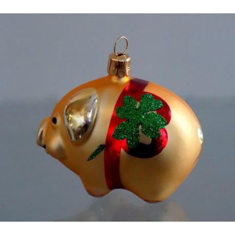 Christmas ornament New Year's piggy gold www.sklenenevyrobky.cz