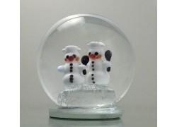 Snow globe 8cm - with two snowmen www.sklenenevyrobky.cz