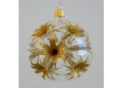 Christmas balls 8cm, golden lilies www.sklenenevyrobky.cz
