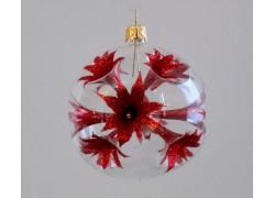 Christmas balls 8cm, red lilies www.sklenenevyrobky.cz