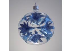 Vánoční koule 8cm, modré lilie www.sklenenevyrobky.cz