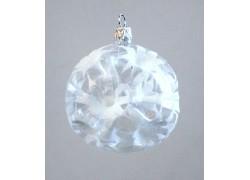 Vánoční ozdoba koulička 80 mm vpichovaná bílá
