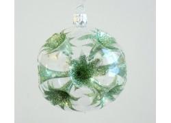 Christmas balls 8cm, green lilies www.sklenenevyrobky.cz