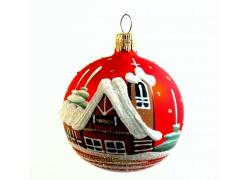 Vánoční ozdoba koulička 80 mm kostelíček a roubenka červená