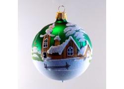 Vánoční ozdoba koulička 80 mm kostelíček a roubenka zelená