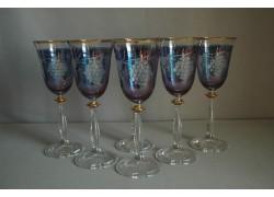 Wine glass, 6 pcs, decor grape wine, in blue, 250ml www.sklenenevyrobky.cz