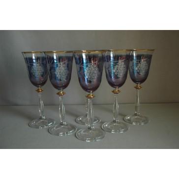 Poháre na víno, 6 ks, dekor hrozenové víno, v modrej, 250ml www.sklenenevyrobky.cz