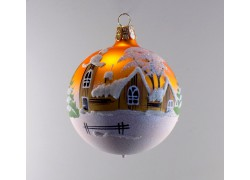 Christmas ball ornament 80mm church and timbered gold mat