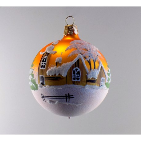 Christmas ball ornament 80mm church and timbered gold mat www.sklenenevyrobky.cz