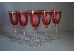 Angela listr set 6ks dekor víno červená