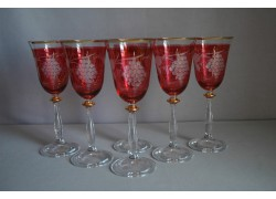 Wine glass, 6 pcs, decor grape, in red, 250ml www.sklenenevyrobky.cz
