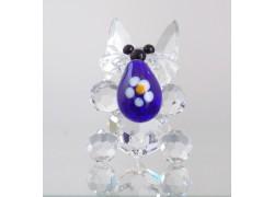 Easter bunny with blue easter egg www.sklenenevyrobky.cz
