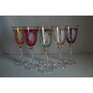 Poháre na víno, 6 ks, dekor strapec hrozna, 250ml, v 6 farbách www.sklenenevyrobky.cz