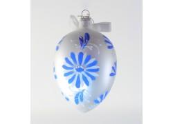 Velikonoční vejce bílě s modrým dekorem 1003