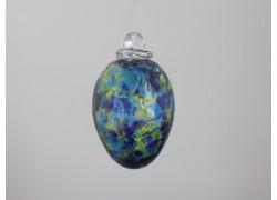 Vajíčko z hutního skla tyrkysové III. 8 cm