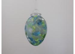 Vajíčko z hutního skla světlý tyrkys IV. 8 cm