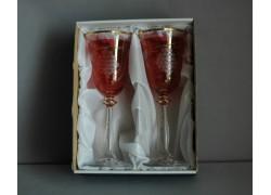 Wine glass, 2 pcs, decor gown wine, 250ml, in red www.sklenenevyrobky.cz