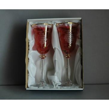 Poháre na víno, 2 ks, dekor strapec hrozna, 250ml, v červenej www.sklenenevyrobky.cz