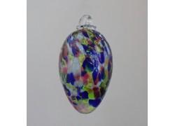 Vajíčko z hutního skla barevné transparentní VIII. 8 cm