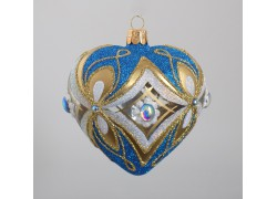 Christmas ornament, heart blown into a mold 10 cm, light blue www.sklenenevyrobky.cz