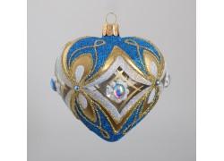 Weihnachtsverzierung, Herz in eine Form 10 cm geblasen, hellblau www.sklenenevyrobky.cz