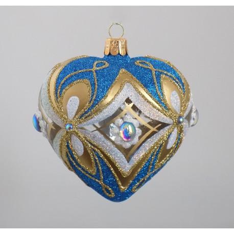 Christmas ornament, heart blown into a mold 10 cm, light blue www.sklenenevyrobky.cz