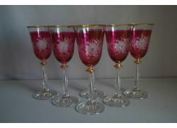 Sklenice na víno Angela 250ml set 6 ks květina červený listr